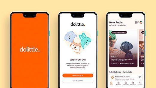Pantallas de bienvenida e inicio de la app Dolittle / Andrés González Menéndez