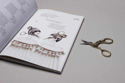 Detalle de ilustración y tijeras