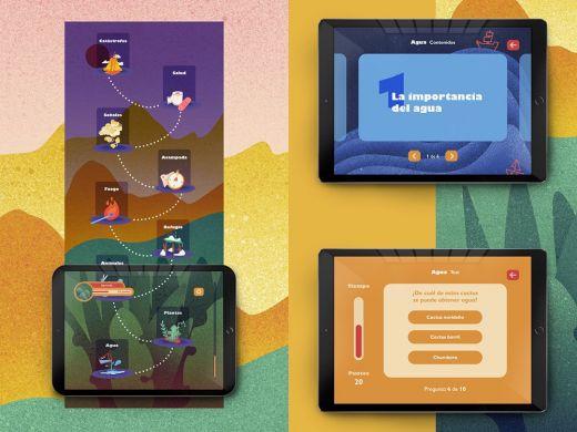 Contenidos digitales presentados en tres tablets