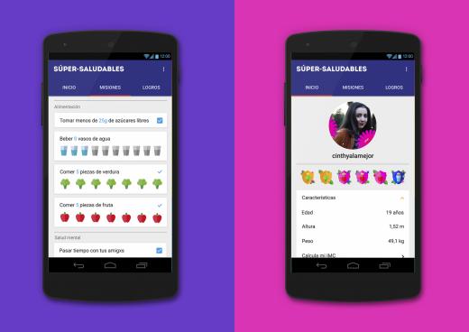 Dos pantallas de la aplicación para dispositivos móviles
