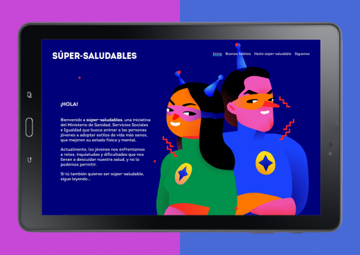 Sitio web en una tablet