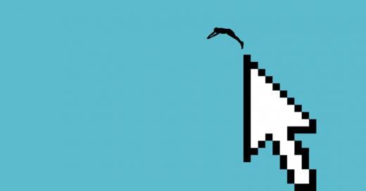 Ilustración de un nadador saltando desde un puntero de ratón / Autor: Goyo Rodríguez