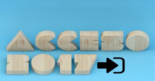 """Ilustración con el texto """"Acceso 2017"""" seguido por un icono que representa el concepto """"entrada"""""""
