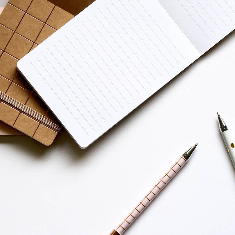Vista cenital en la que se ven parcialmente dos bolígrafos y dos libretas