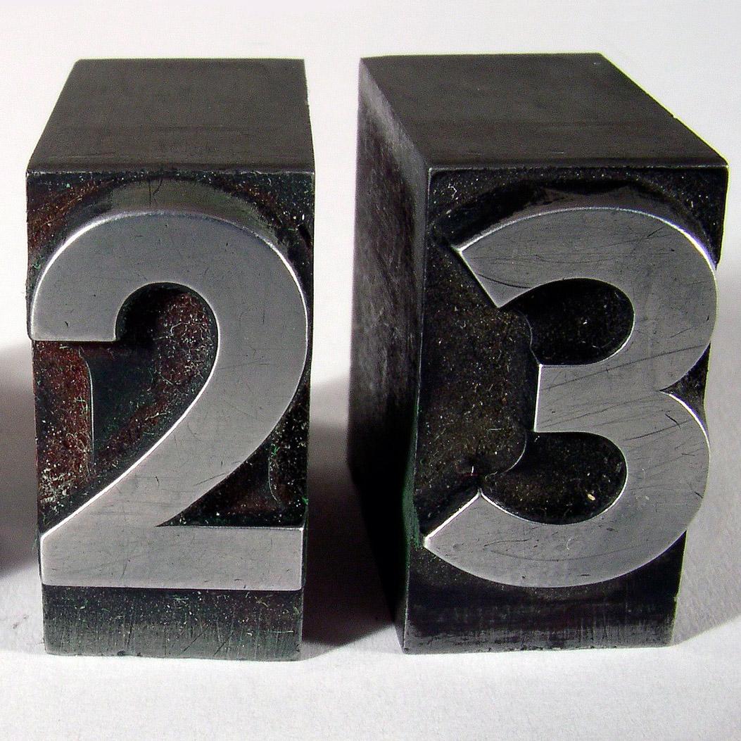 Tipos de imprenta de los números 2 y 3