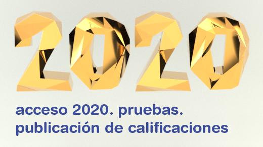Ilustración con el texto 2020 en 3D y el texto acceso 2020. pruebas. actas de calificación