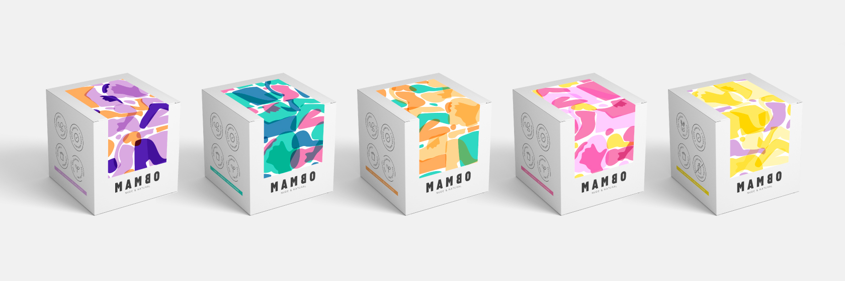 """Conjunto de envases para la marca """"Mambo"""" / Diseño de Raquel Blanco"""