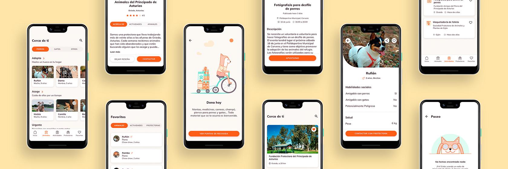 """Pantallas de la App para móvil """"Doolittle"""" / Diseño de Andrés González Menéndez"""