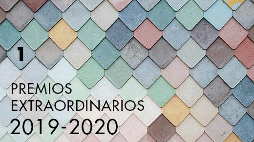Mosaico de azulejos de diversos colores con el texto Premios extraordinarios 2019 2020 y el número 1
