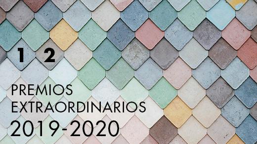 Mosaico de azulejos de diversos colores con el texto Premios extraordinarios 2019 2020 y los números 1 y 2